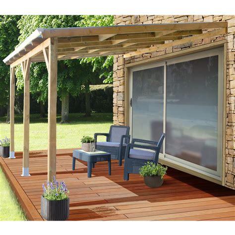 pergola bois adossée pergola adoss 233 e bois trait 233 toiture polycarbonate 3x3 7 m gamm vert