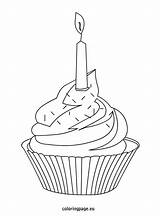 Cupcake Cupcakes Coloring Candle Sprinkles Birthday Pages Template Colorful Easy Adult Icolor sketch template