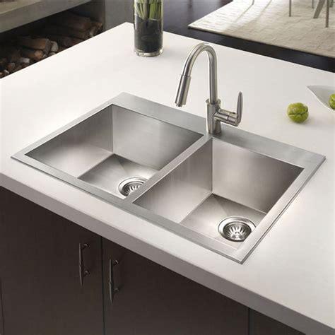 top mounted kitchen sinks houzer bellus zero radius topmount 60 40 bowl 6301