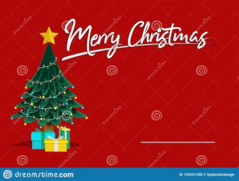 Merry Christmas Red Greeting Card Template Vector