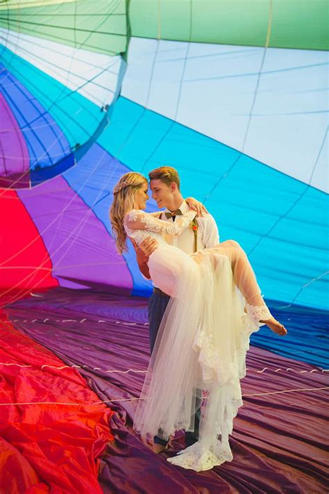 vibrant hot air balloon wedding inspiration