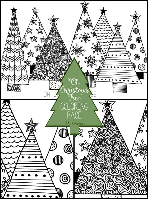christmas tree coloring page  create