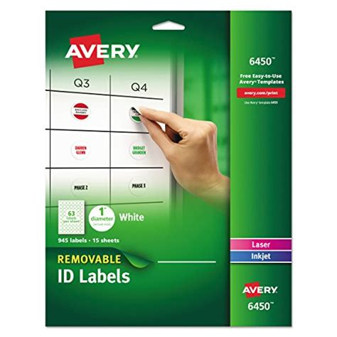 1 Inch Diameter Labels Inkjet Printers Avery Removable Labels 1 Inch Diameter White Pack