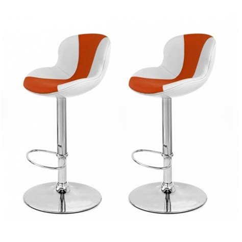 tabouret de bar blanc orange x2 golf tabouret de bar topkoo