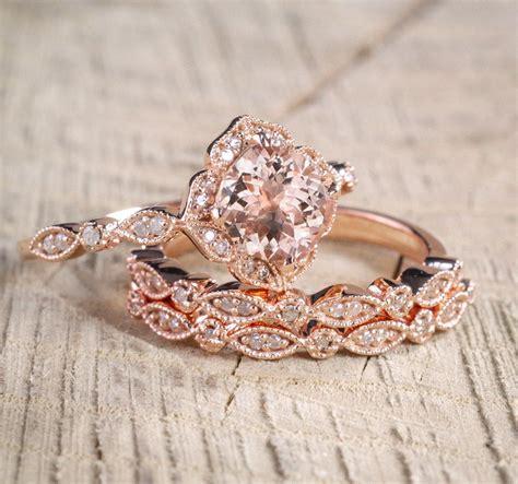 2 25 carat morganite diamond trio wedding bridal ring in 10k rose gold with engagement ring