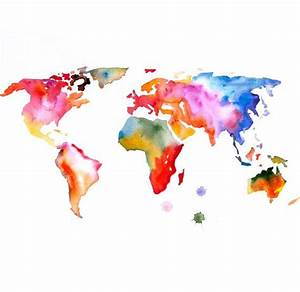 Original Watercolor Painting world map 13x19 abstract