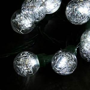 Set Of 25 Clear Tinsel Wide Angle Led G30 Globe Wedding
