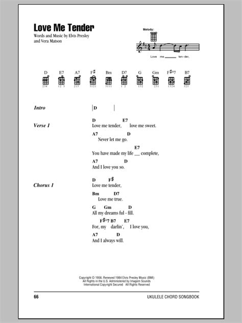 The song will be better if you change between this two. Elvis Presley: Love Me Tender - Ukulele with strumming patterns | Sheetmusicdirect.com