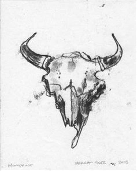 Print Original Drawing Deer Skull Nature Art