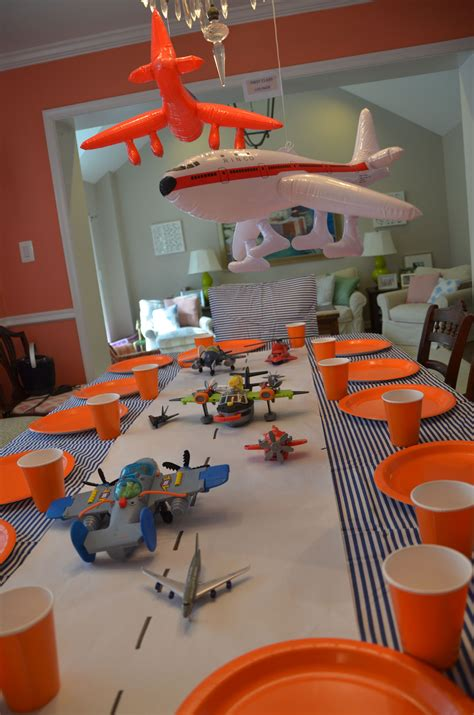 airplane birthday paper runway  toy planes table