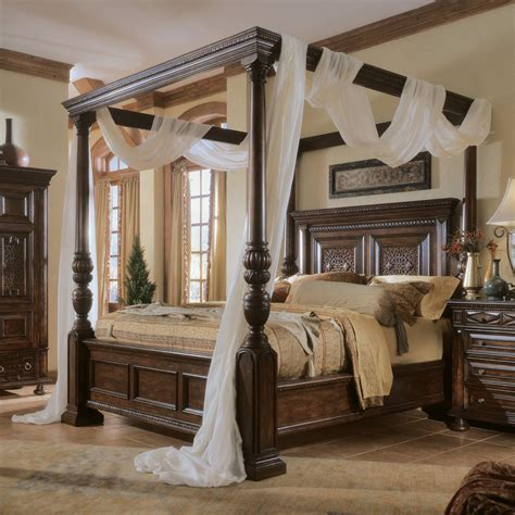 Bedroom  Exiterra Canopy Bed Canopy Beds' Wood Canopy Bed