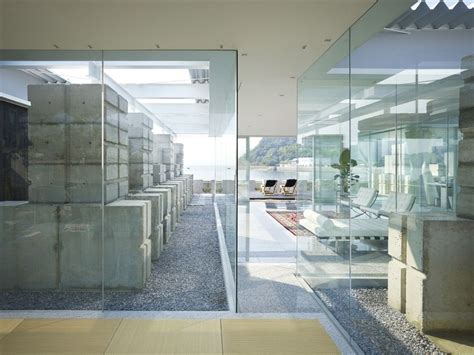 interior glass walls for homes concrete stack and glass house