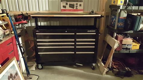 husky   adjustable top mobile workbench toolbox