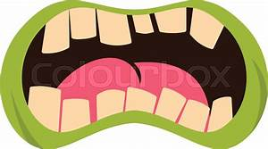 Open Zombie Mouth Icon Flat Isolated On White Background