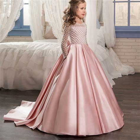 aibaowedding fancy flower girl dresses draped long sleeves