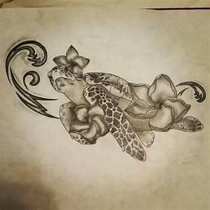 Sea turtle, Hawaiian flowers, waves, ocean, tattoo drawing ...