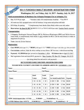 family reunion registration form    word