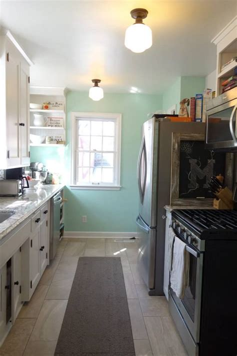 galley kitchen  quartz renovation sherwin