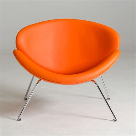 modrest anais mid century orange leatherette accent chair