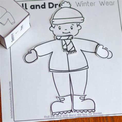 Dress Up Coloring Pages Roll And Dress Winter Wear Preschool Roll The Dice Dress