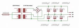 Power Supply Circuit  U00b19v From A 6v Centre Tap Transformer