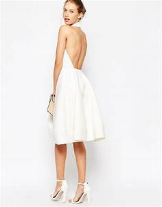 lyst asos halter neck full midi dress with plunge in white With robe de cocktail mi longue