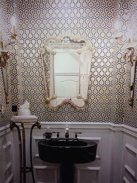 powder room hicks hexagon   walnut wallpaper