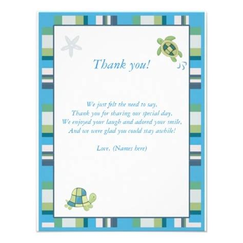 thank you for hosting card template turtle bay baby shower thank you notes template