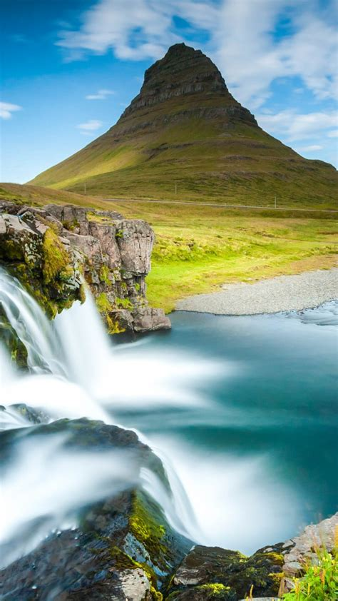 Wallpaper Reykjavik Iceland Waterfall River Mountain