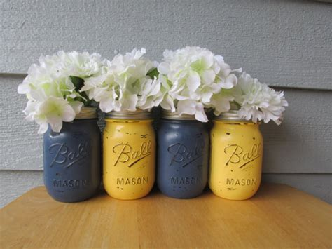 Navy Blue Flower Vases by Painted And Distressed Jars Navy Blue And Pale