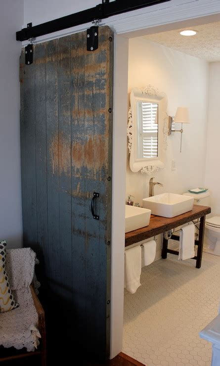 bathroom barn door eclectic bathroom