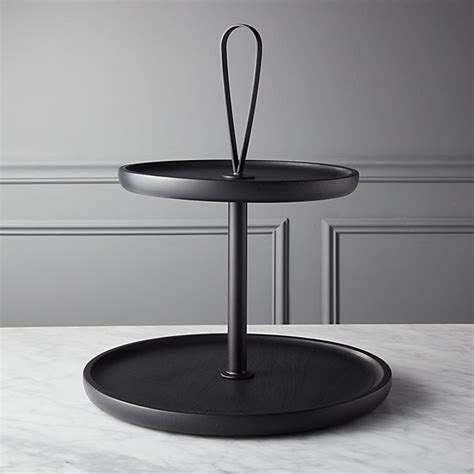 triangle glass dining 2 tier black cupcake stand cb2