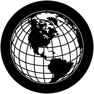 Black and White Globe Line Drawing