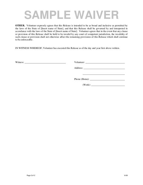Volunteer Waiver Form Template by Sle Waiver Form Free Printable Documents