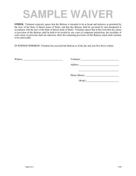 volunteer release  waiver template