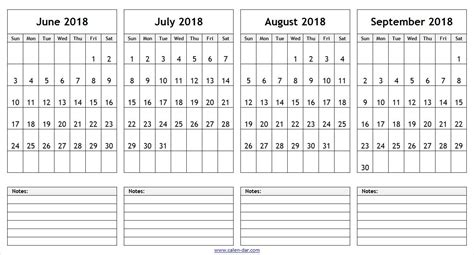 june july august september  calendar  notes