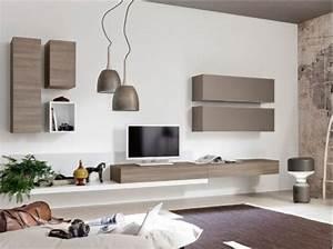 Neha Meuble TV Mural L360 Taupe Et Bois Deco Pinterest