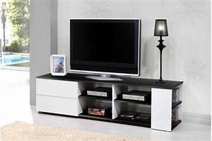 Meuble Tv Noir : meuble tv noir et blanc moderno design sur sofactory ~ Teatrodelosmanantiales.com Idées de Décoration