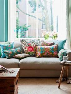 bright colored floral or otherwise patterned pillows on With bright colored pillows for couch