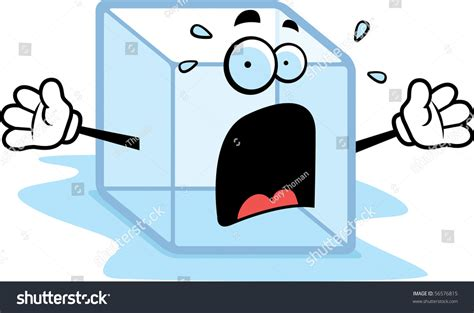 Cartoon Melting Ice Cube Scared Expression Stock Vector