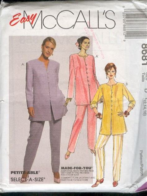 McCall's Sewing Pattern 8681 Dressy Pant Suit, pull on ...