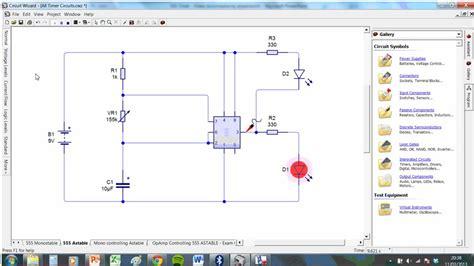 circuit wizard ne555 astable circuit weirdness