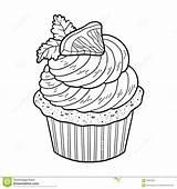 Coloring Cupcake Lemon Vector Dessert Illustration Preview sketch template