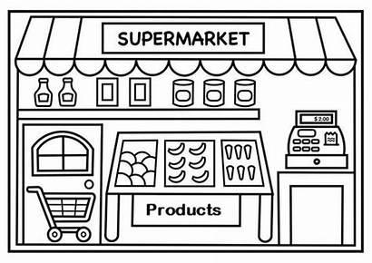 Supermarket Coloring Shopping Pages Dibujo Coloringpagesfortoddlers Infantil