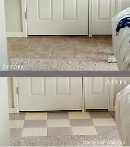 the moon and me painting a tile floor tips and grumbles With can i paint tile in my bathroom
