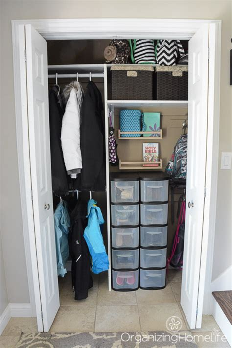 Entry Closet Organization Ideas by A Neat And Tidy Entry Closet Just A And