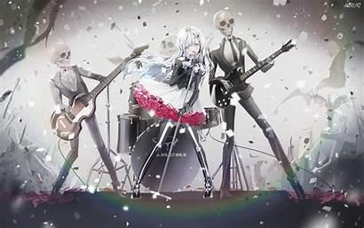 Anime Skeleton Rock Band Gothic Guitar Lolita
