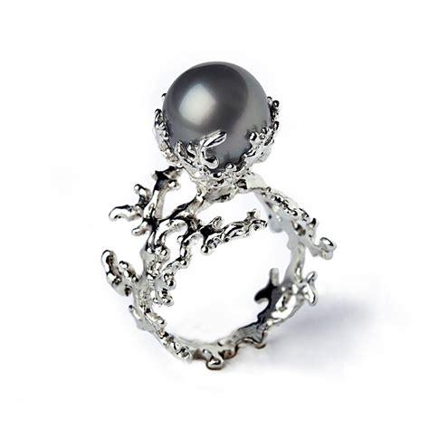 white coral tahitian pearl ring black pearl engagement by arosha