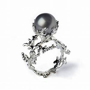 white coral tahitian pearl ring black pearl engagement by With black pearl wedding rings