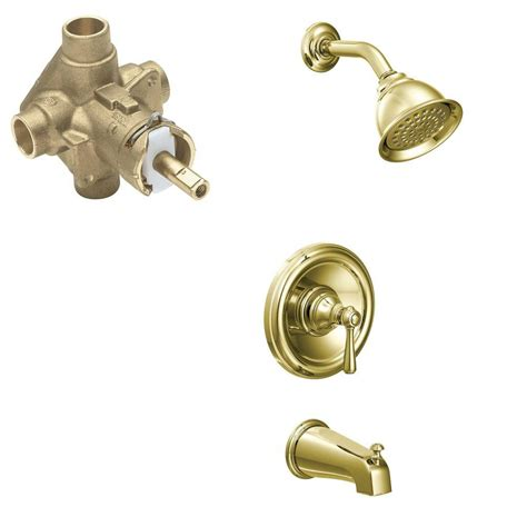 moen kingsley faucet polished brass moen kingsley single handle 1 spray positemp tub and